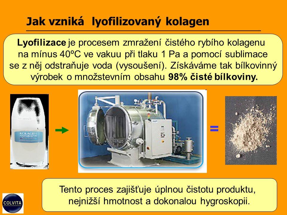 Jak vzniká lyofilizovaný kolagen = Tento proces zajišťuje úplnou čistotu produktu, nejnižší hmotnost a dokonalou hygroskopii.