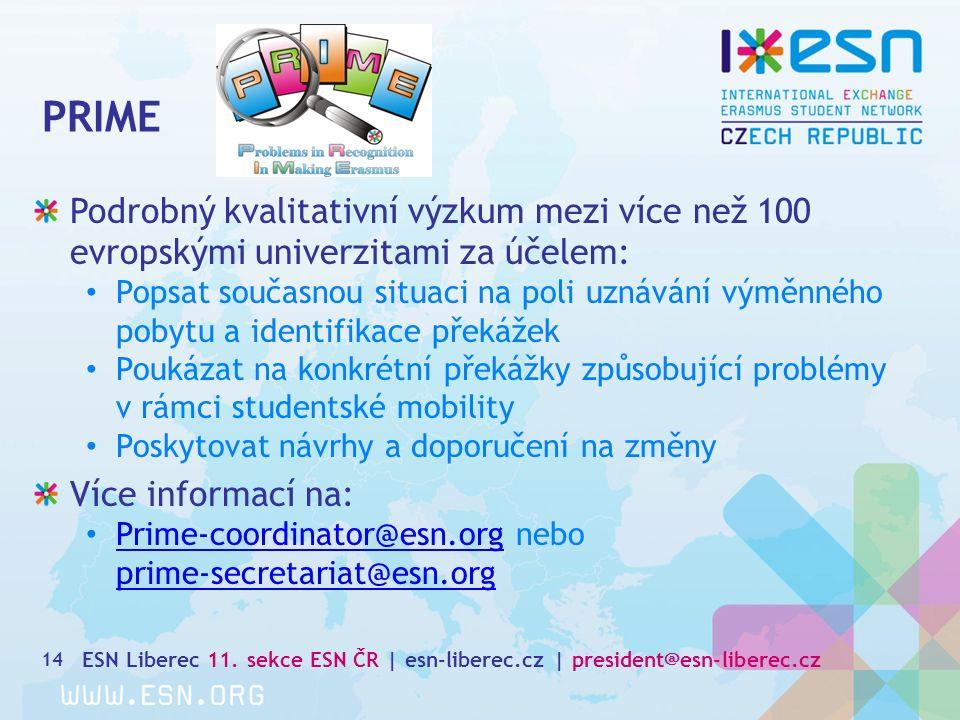 PRIME 14 Podrobný kvalitativní výzkum mezi více než 100 evropskými univerzitami za účelem: Popsat současnou situaci na poli uznávání výměnného pobytu a identifikace překážek Poukázat na konkrétní překážky způsobující problémy v rámci studentské mobility Poskytovat návrhy a doporučení na změny Více informací na: Prime-coordinator@esn.org nebo Prime-coordinator@esn.org prime-secretariat@esn.org ESN Liberec 11.