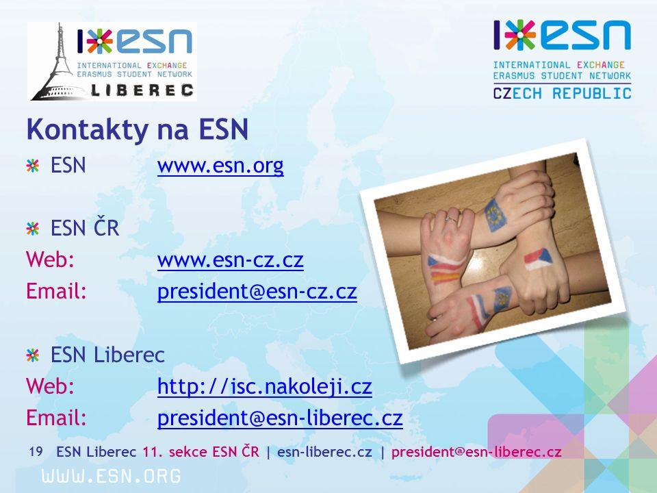 Kontakty na ESN 19 ESN www.esn.orgwww.esn.org ESN ČR Web: www.esn-cz.czwww.esn-cz.cz Email:president@esn-cz.czpresident@esn-cz.cz ESN Liberec Web: http://isc.nakoleji.czhttp://isc.nakoleji.cz Email:president@esn-liberec.czpresident@esn-liberec.cz ESN Liberec 11.