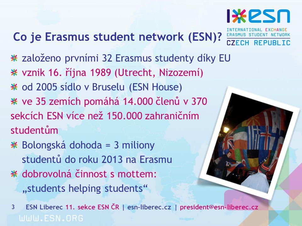 Co je Erasmus student network (ESN). 3 založeno prvními 32 Erasmus studenty díky EU vznik 16.