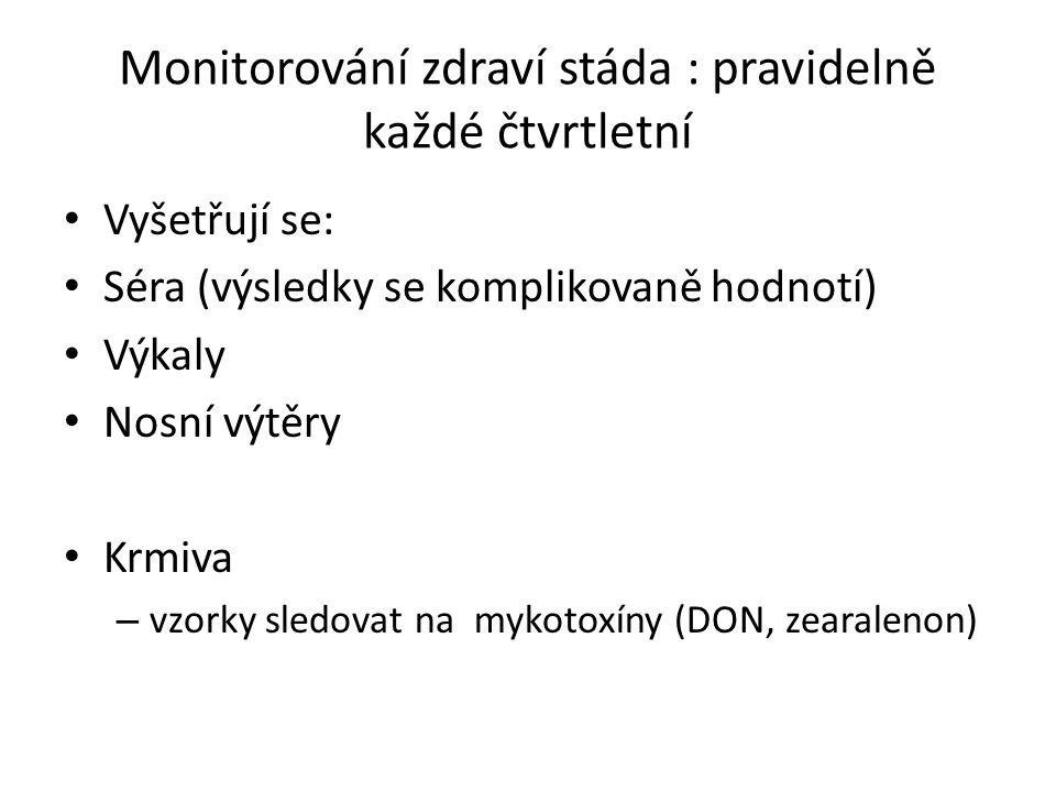 Monitorování zdraví stáda : pravidelně každé čtvrtletní Vyšetřují se: Séra (výsledky se komplikovaně hodnotí) Výkaly Nosní výtěry Krmiva – vzorky sledovat na mykotoxíny (DON, zearalenon)