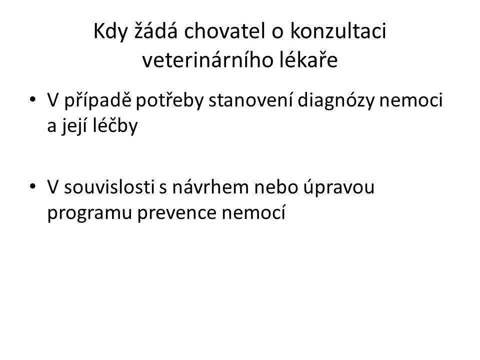 Kdy žádá chovatel o konzultaci veterinárního lékaře V případě potřeby stanovení diagnózy nemoci a její léčby V souvislosti s návrhem nebo úpravou programu prevence nemocí