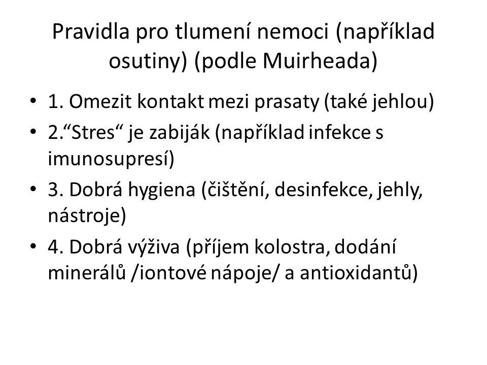 Pravidla pro tlumení nemoci (například osutiny) (podle Muirheada) 1.