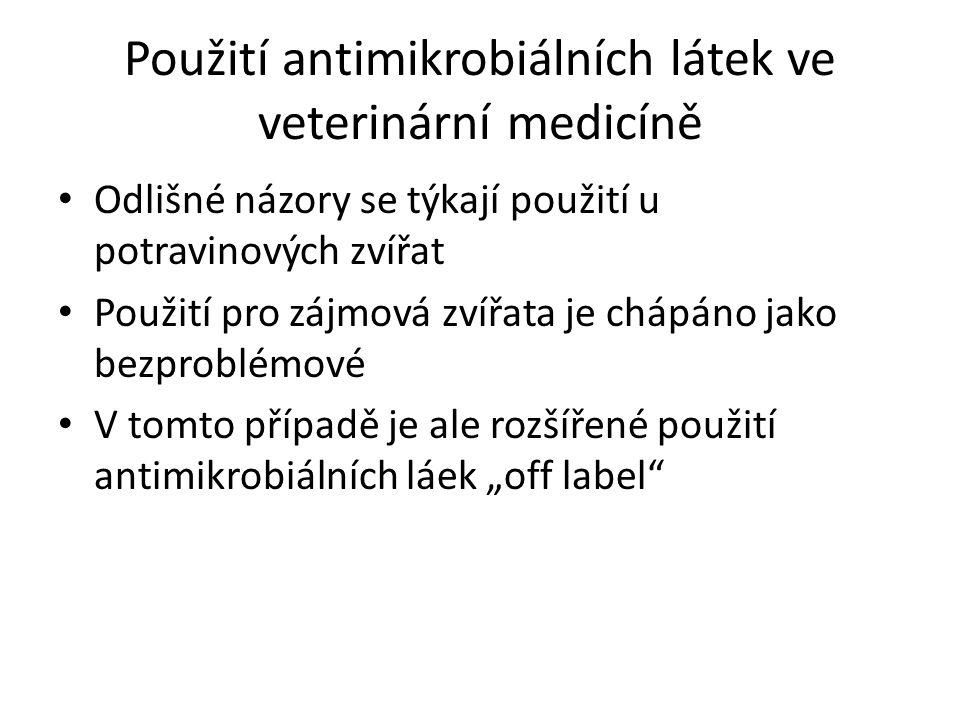 """Použití antimikrobiálních látek ve veterinární medicíně Odlišné názory se týkají použití u potravinových zvířat Použití pro zájmová zvířata je chápáno jako bezproblémové V tomto případě je ale rozšířené použití antimikrobiálních láek """"off label"""