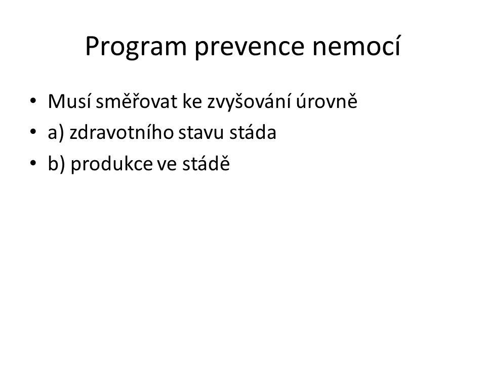 Program prevence nemocí Musí směřovat ke zvyšování úrovně a) zdravotního stavu stáda b) produkce ve stádě
