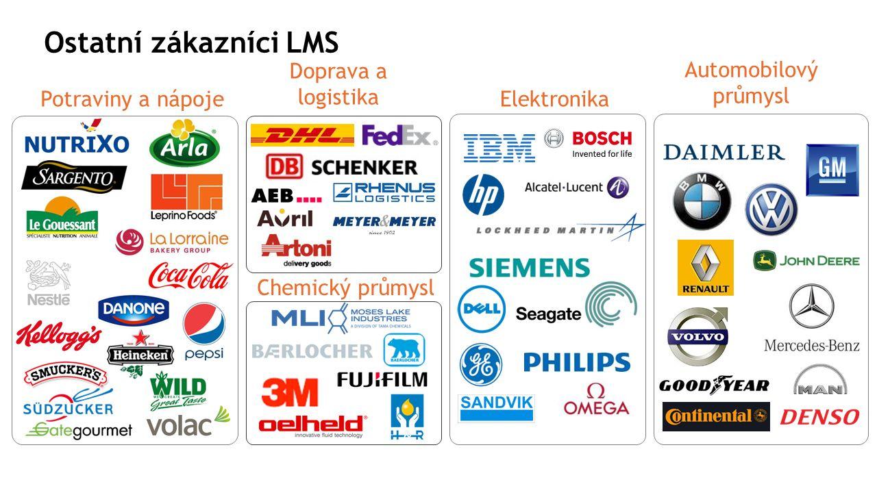 Ostatní zákazníci LMS Doprava a logistika Chemický průmysl Potraviny a nápoje Automobilový průmysl Elektronika