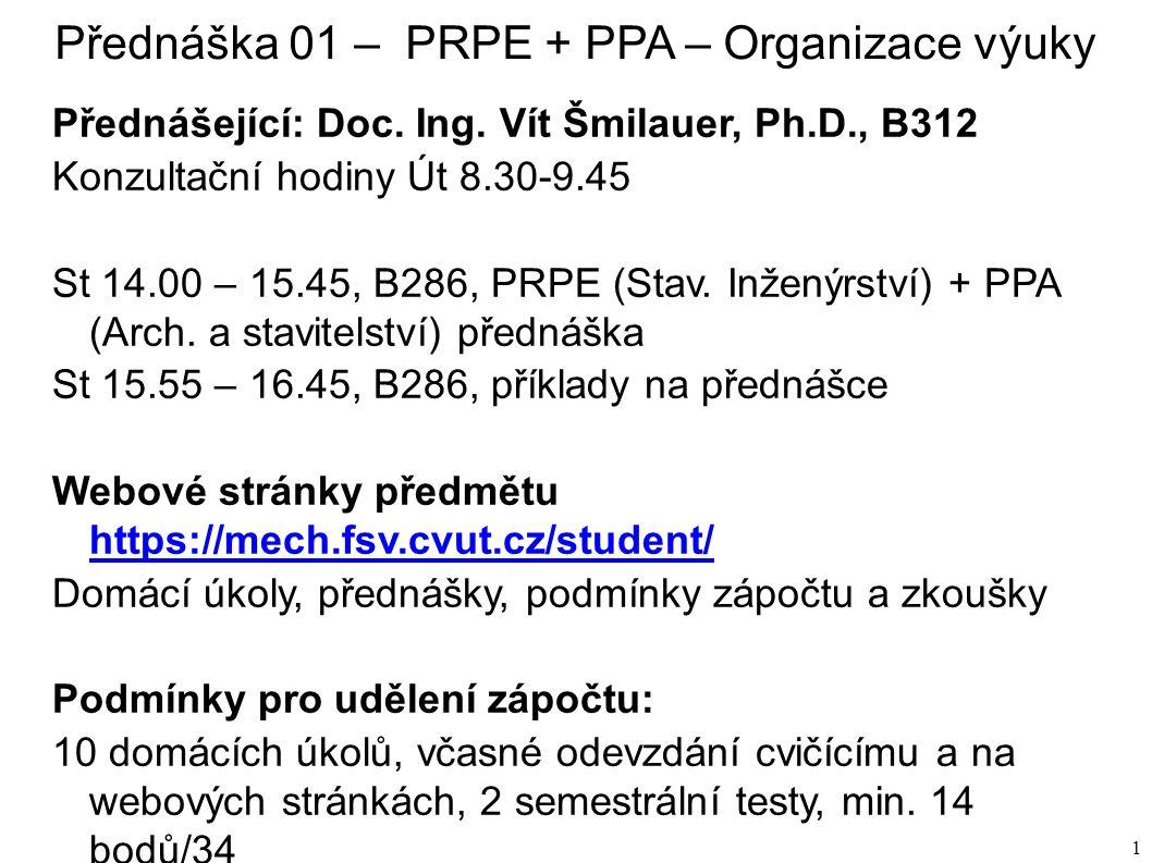 1 Přednáška 01 – PRPE + PPA – Organizace výuky Přednášející: Doc.
