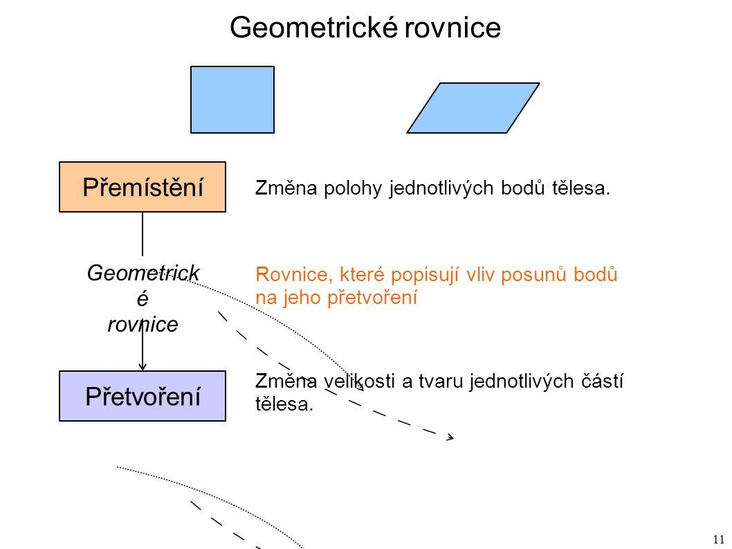 11 Geometrické rovnice Přemístění Přetvoření Geometrick é rovnice Změna polohy jednotlivých bodů tělesa.