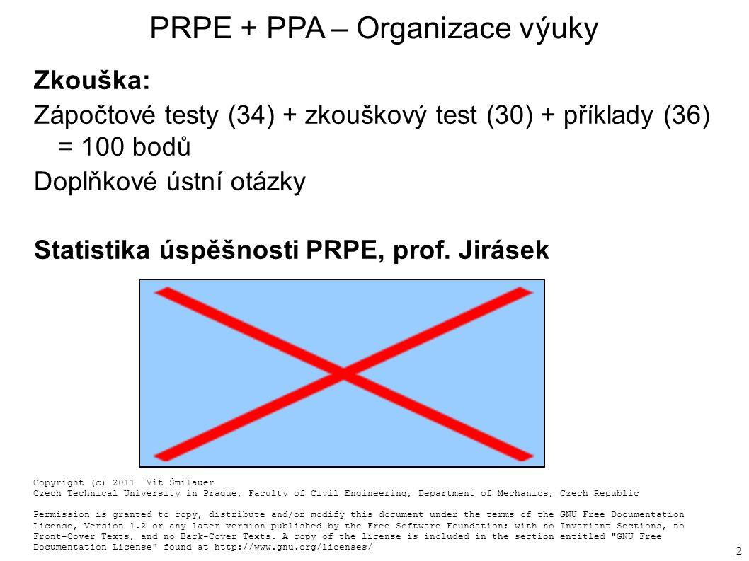 2 PRPE + PPA – Organizace výuky Zkouška: Zápočtové testy (34) + zkouškový test (30) + příklady (36) = 100 bodů Doplňkové ústní otázky Statistika úspěšnosti PRPE, prof.