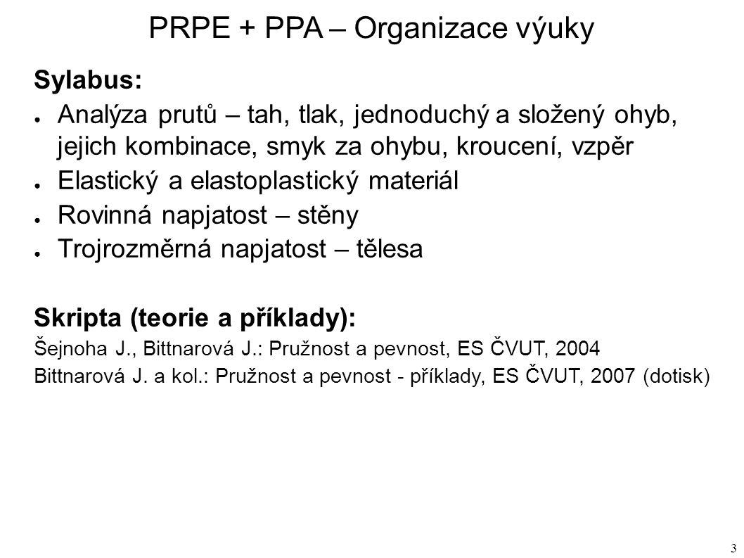 3 Sylabus: ● Analýza prutů – tah, tlak, jednoduchý a složený ohyb, jejich kombinace, smyk za ohybu, kroucení, vzpěr ● Elastický a elastoplastický materiál ● Rovinná napjatost – stěny ● Trojrozměrná napjatost – tělesa Skripta (teorie a příklady): Šejnoha J., Bittnarová J.: Pružnost a pevnost, ES ČVUT, 2004 Bittnarová J.