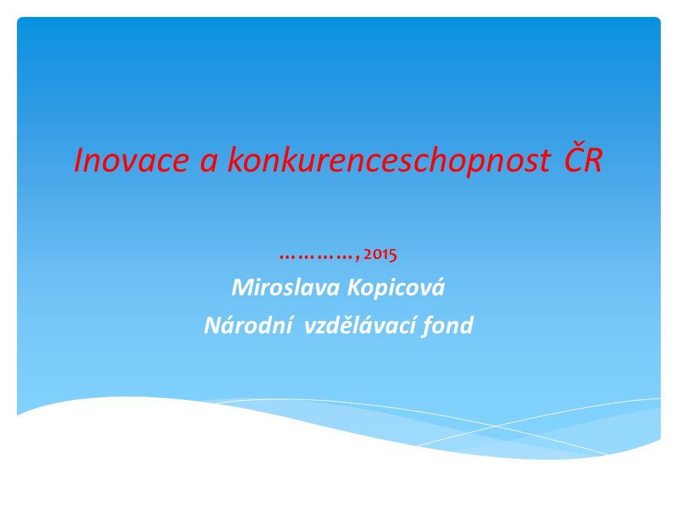 Inovace a konkurenceschopnost ČR …………, 2015 Miroslava Kopicová Národní vzdělávací fond