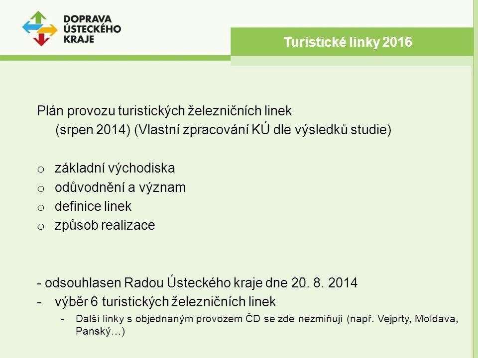 Plán provozu turistických železničních linek (srpen 2014) (Vlastní zpracování KÚ dle výsledků studie) o základní východiska o odůvodnění a význam o definice linek o způsob realizace - odsouhlasen Radou Ústeckého kraje dne 20.