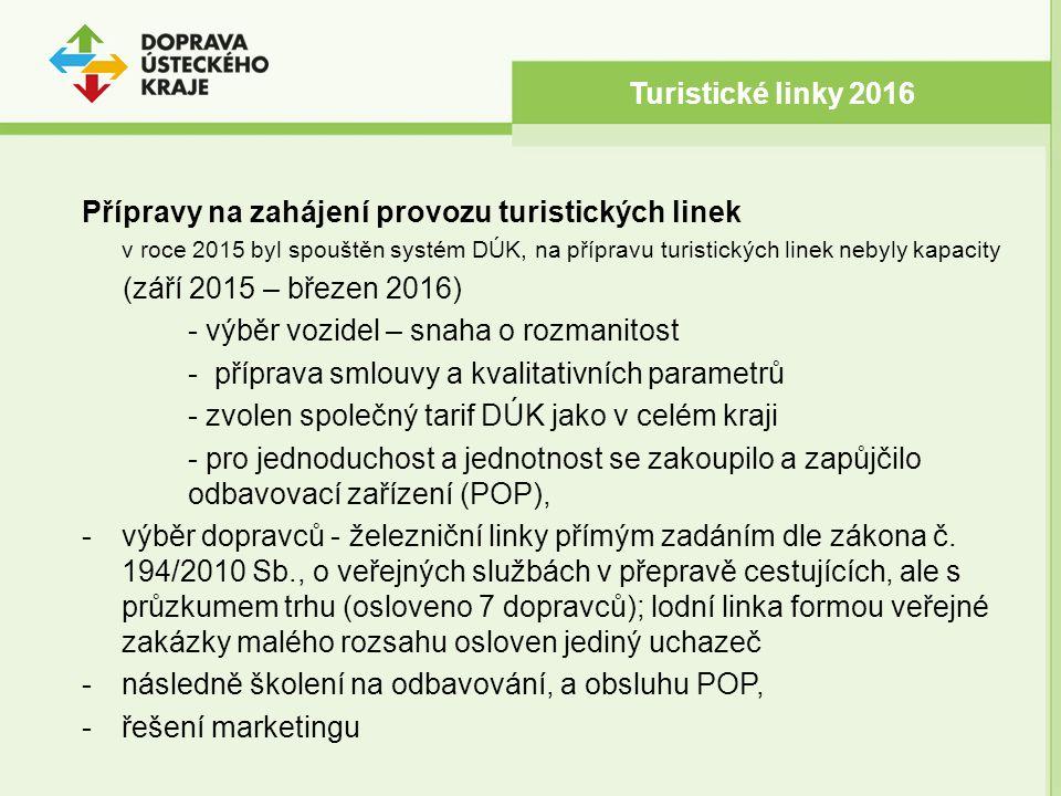 Přípravy na zahájení provozu turistických linek v roce 2015 byl spouštěn systém DÚK, na přípravu turistických linek nebyly kapacity (září 2015 – březen 2016) - výběr vozidel – snaha o rozmanitost - příprava smlouvy a kvalitativních parametrů - zvolen společný tarif DÚK jako v celém kraji - pro jednoduchost a jednotnost se zakoupilo a zapůjčilo odbavovací zařízení (POP), -výběr dopravců - železniční linky přímým zadáním dle zákona č.