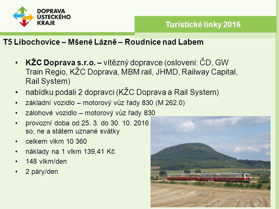 Turistické linky 2016 T5 Libochovice – Mšené Lázně – Roudnice nad Labem KŽC Doprava s.r.o. – vítězný dopravce (osloveni: ČD, GW Train Regio, KŽC Dopra