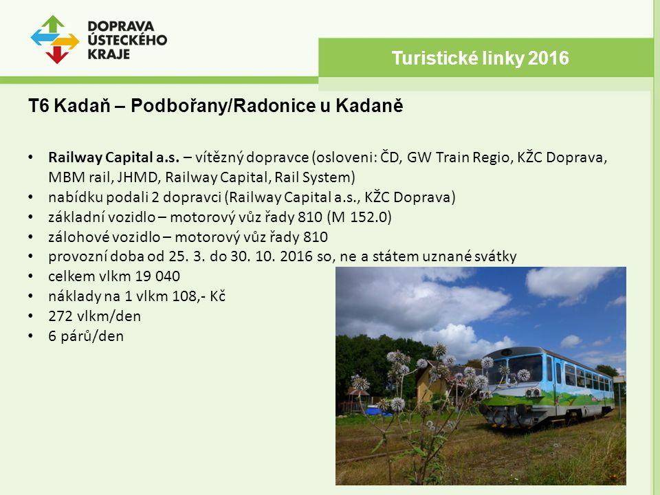 T6 Kadaň – Podbořany/Radonice u Kadaně Turistické linky 2016 Railway Capital a.s. – vítězný dopravce (osloveni: ČD, GW Train Regio, KŽC Doprava, MBM r