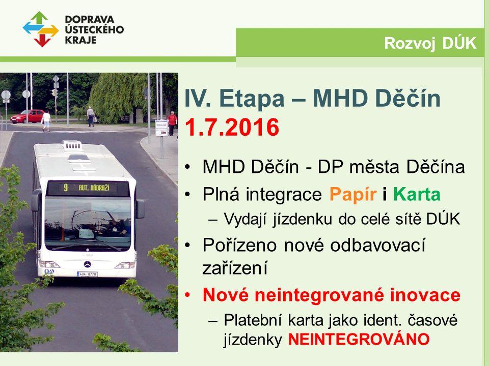 IV. Etapa – MHD Děčín 1.7.2016 MHD Děčín - DP města Děčína Plná integrace Papír i Karta –Vydají jízdenku do celé sítě DÚK Pořízeno nové odbavovací zař