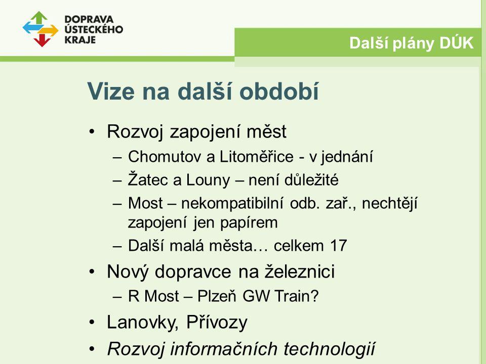 Vize na další období Rozvoj zapojení měst –Chomutov a Litoměřice - v jednání –Žatec a Louny – není důležité –Most – nekompatibilní odb.