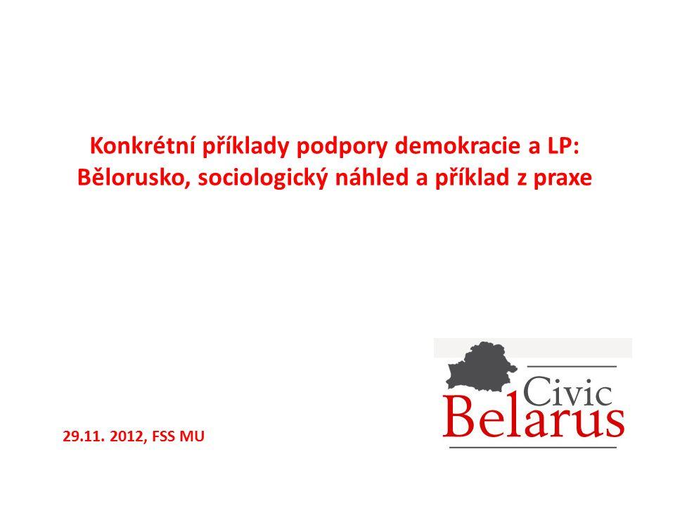 Konkrétní příklady podpory demokracie a LP: Bělorusko, sociologický náhled a příklad z praxe 29.11. 2012, FSS MU