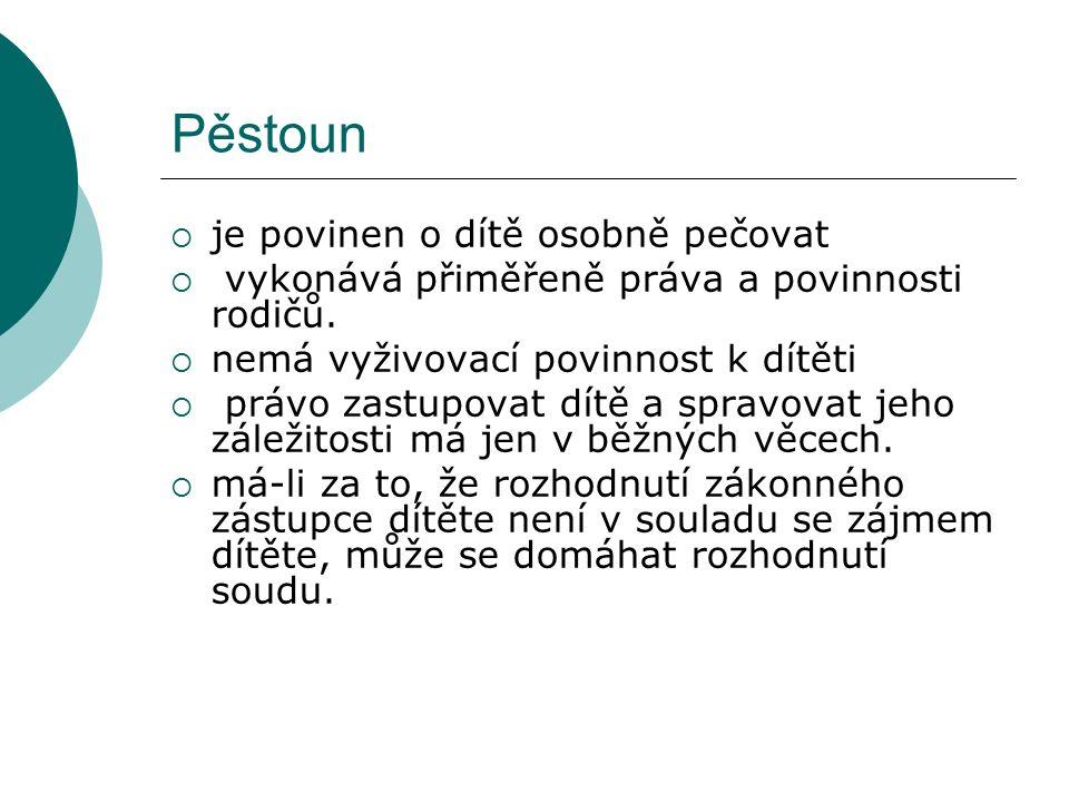 Pěstoun  je povinen o dítě osobně pečovat  vykonává přiměřeně práva a povinnosti rodičů.