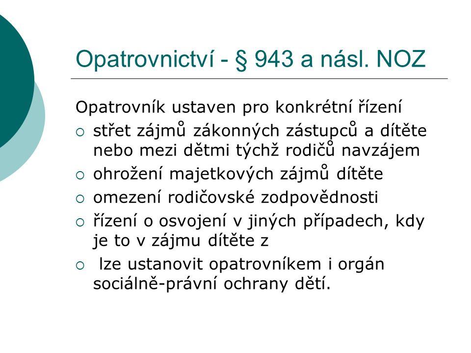 Opatrovnictví - § 943 a násl.