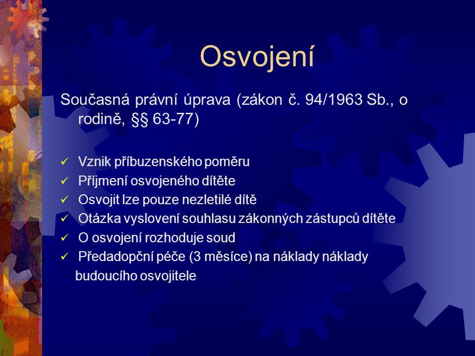 Osvojení Současná právní úprava (zákon č.