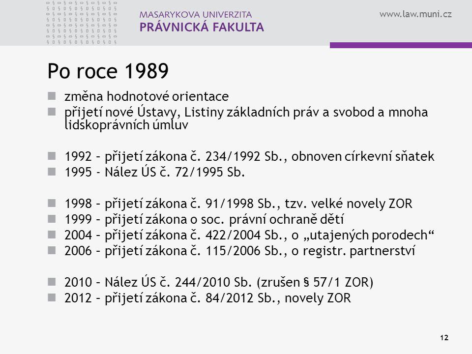 www.law.muni.cz 12 Po roce 1989 změna hodnotové orientace přijetí nové Ústavy, Listiny základních práv a svobod a mnoha lidskoprávních úmluv 1992 – př