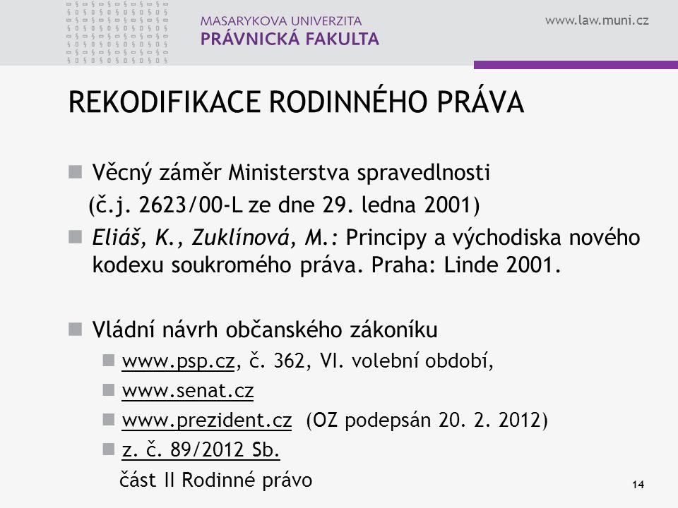 www.law.muni.cz 14 REKODIFIKACE RODINNÉHO PRÁVA Věcný záměr Ministerstva spravedlnosti (č.j. 2623/00-L ze dne 29. ledna 2001) Eliáš, K., Zuklínová, M.
