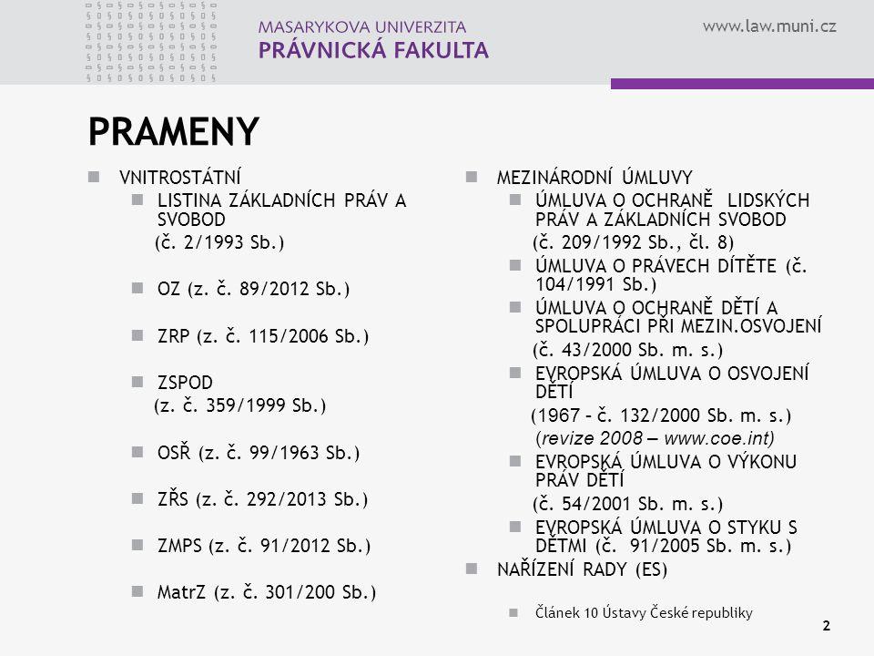 www.law.muni.cz 2 PRAMENY VNITROSTÁTNÍ LISTINA ZÁKLADNÍCH PRÁV A SVOBOD (č. 2/1993 Sb.) OZ (z. č. 89/2012 Sb.) ZRP (z. č. 115/2006 Sb.) ZSPOD (z. č. 3