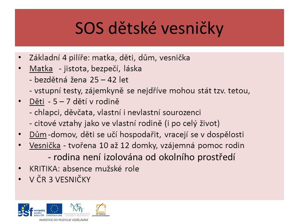 SOS dětské vesničky Základní 4 pilíře: matka, děti, dům, vesnička Matka - jistota, bezpečí, láska - bezdětná žena 25 – 42 let - vstupní testy, zájemkyně se nejdříve mohou stát tzv.