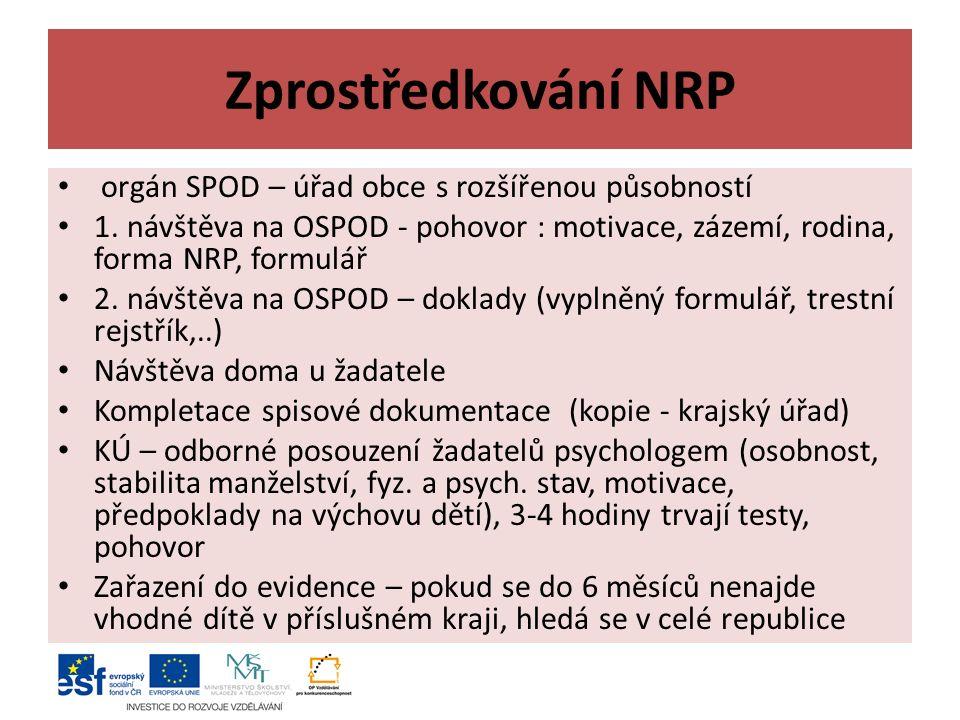 Zprostředkování NRP orgán SPOD – úřad obce s rozšířenou působností 1.