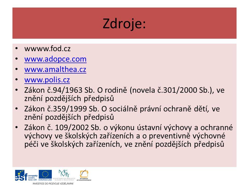 Zdroje: wwww.fod.cz www.adopce.com www.amalthea.cz www.polis.cz Zákon č.94/1963 Sb.