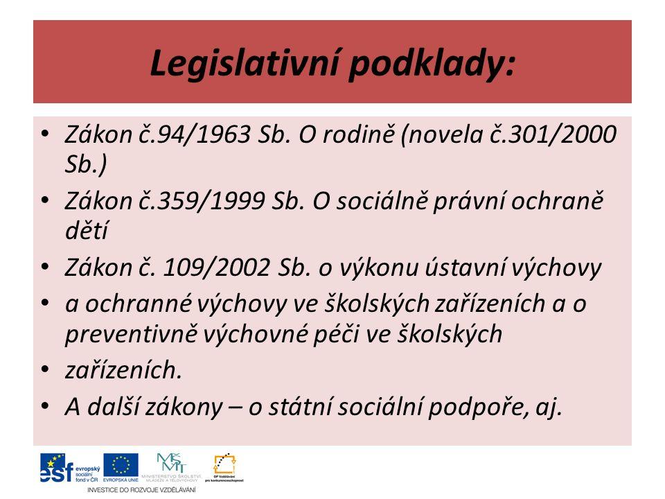 Legislativní podklady: Zákon č.94/1963 Sb. O rodině (novela č.301/2000 Sb.) Zákon č.359/1999 Sb.