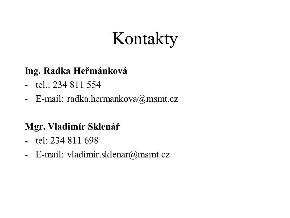 Kontakty Ing. Radka Heřmánková -tel.: 234 811 554 -E-mail: radka.hermankova@msmt.cz Mgr.