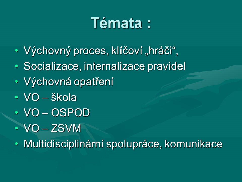 """Témata : Výchovný proces, klíčoví """"hráči"""",Výchovný proces, klíčoví """"hráči"""", Socializace, internalizace pravidelSocializace, internalizace pravidel Výc"""
