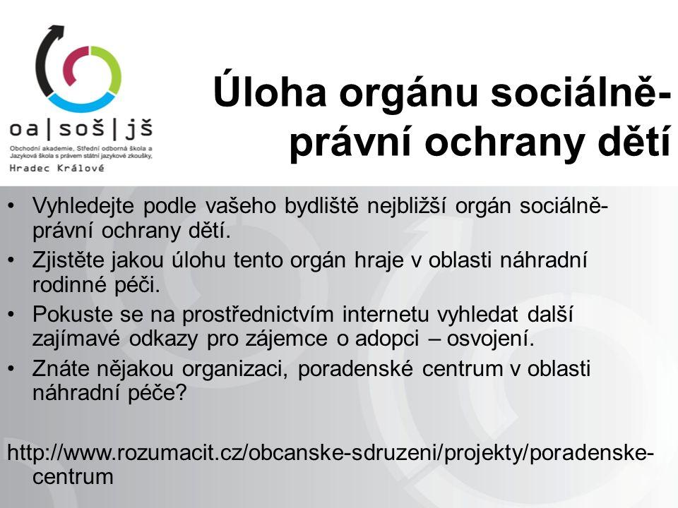 Úloha orgánu sociálně- právní ochrany dětí Vyhledejte podle vašeho bydliště nejbližší orgán sociálně- právní ochrany dětí.