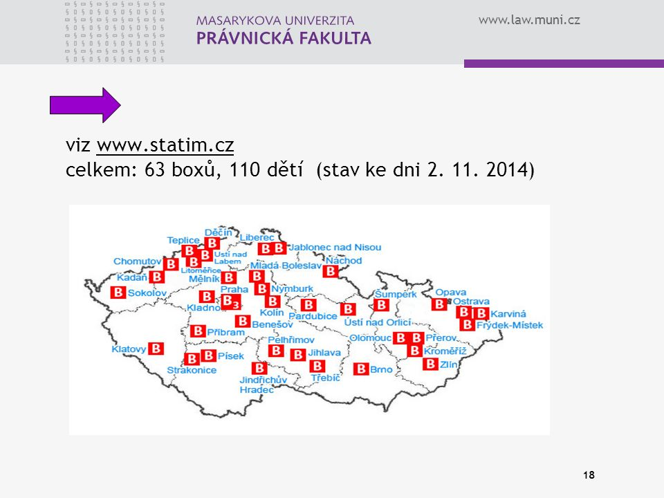www.law.muni.cz 18 viz www.statim.cz celkem: 63 boxů, 110 dětí (stav ke dni 2. 11. 2014)www.statim.cz