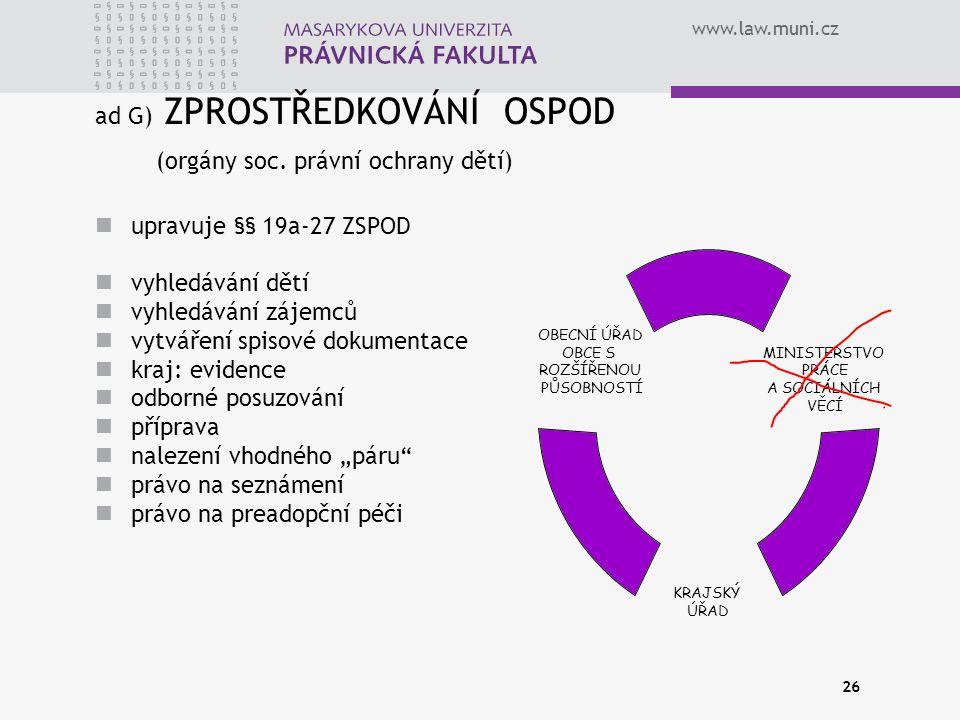 www.law.muni.cz 26 upravuje §§ 19a-27 ZSPOD vyhledávání dětí vyhledávání zájemců vytváření spisové dokumentace kraj: evidence odborné posuzování přípr