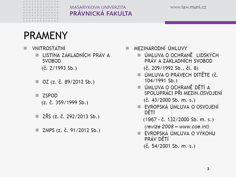 www.law.muni.cz 3 PRAMENY VNITROSTÁTNÍ LISTINA ZÁKLADNÍCH PRÁV A SVOBOD (č. 2/1993 Sb.) OZ (z. č. 89/2012 Sb.) ZSPOD (z. č. 359/1999 Sb.) ZŘS (z. č. 2