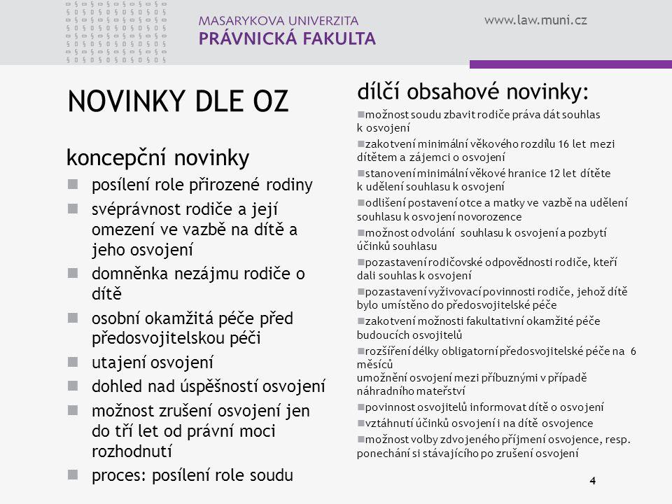 www.law.muni.cz NOVINKY DLE OZ koncepční novinky posílení role přirozené rodiny svéprávnost rodiče a její omezení ve vazbě na dítě a jeho osvojení dom