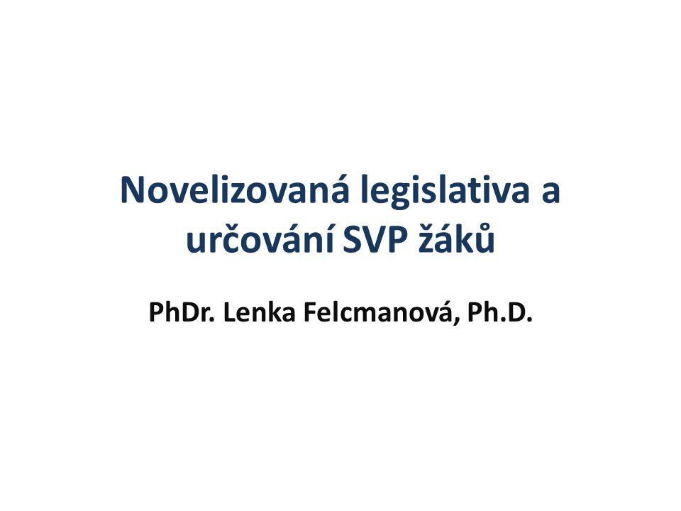 Novelizovaná legislativa a určování SVP žáků PhDr. Lenka Felcmanová, Ph.D.