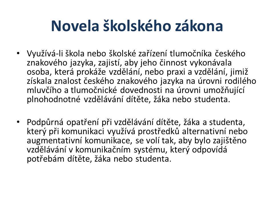 Novela školského zákona Využívá-li škola nebo školské zařízení tlumočníka českého znakového jazyka, zajistí, aby jeho činnost vykonávala osoba, která prokáže vzdělání, nebo praxi a vzdělání, jimiž získala znalost českého znakového jazyka na úrovni rodilého mluvčího a tlumočnické dovednosti na úrovni umožňující plnohodnotné vzdělávání dítěte, žáka nebo studenta.