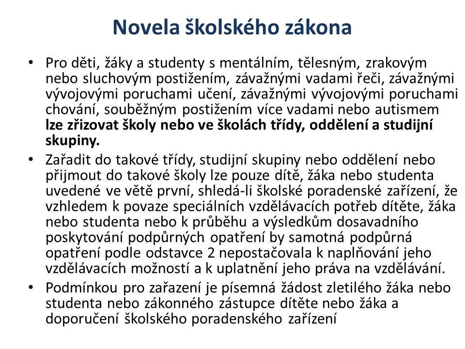 Novela školského zákona Pro děti, žáky a studenty s mentálním, tělesným, zrakovým nebo sluchovým postižením, závažnými vadami řeči, závažnými vývojový