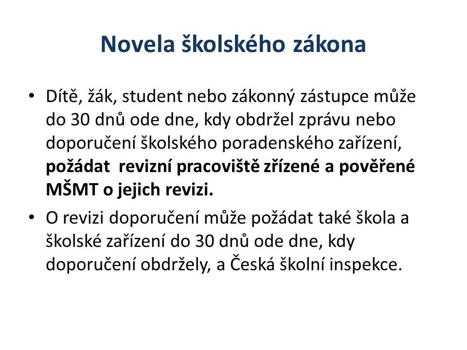 Novela školského zákona Dítě, žák, student nebo zákonný zástupce může do 30 dnů ode dne, kdy obdržel zprávu nebo doporučení školského poradenského zař