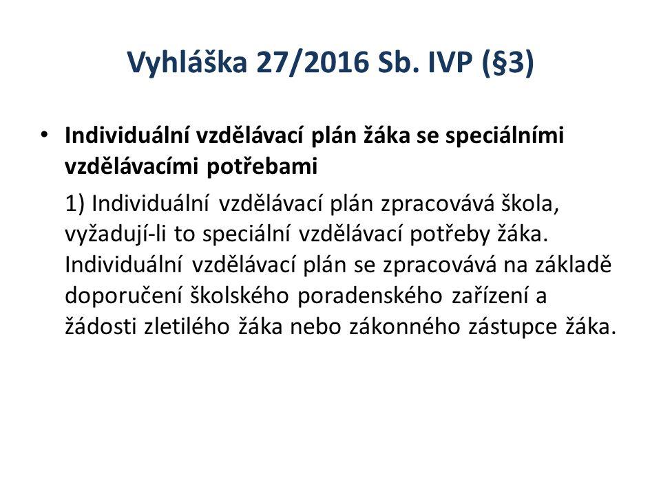 Vyhláška 27/2016 Sb. IVP (§3) Individuální vzdělávací plán žáka se speciálními vzdělávacími potřebami 1) Individuální vzdělávací plán zpracovává škola