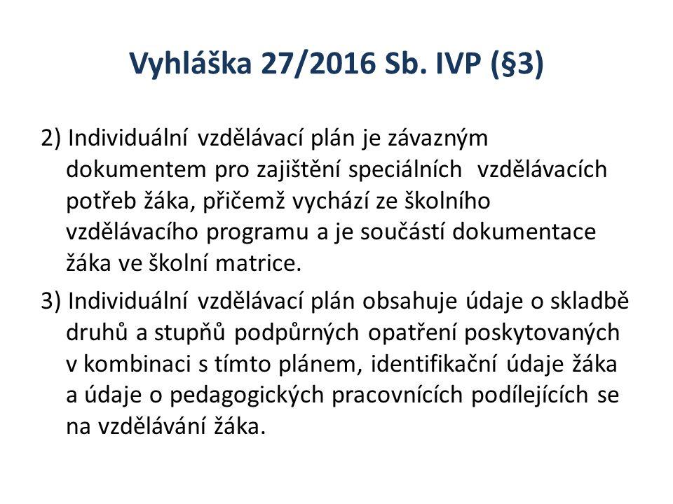 Vyhláška 27/2016 Sb. IVP (§3) 2) Individuální vzdělávací plán je závazným dokumentem pro zajištění speciálních vzdělávacích potřeb žáka, přičemž vychá