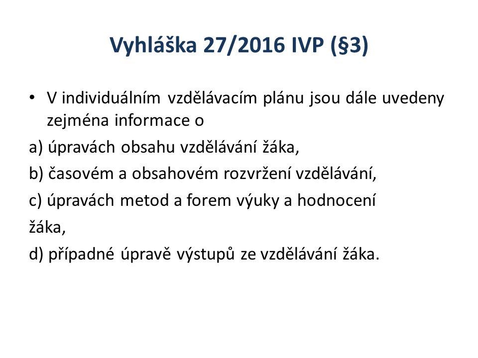 Vyhláška 27/2016 IVP (§3) V individuálním vzdělávacím plánu jsou dále uvedeny zejména informace o a) úpravách obsahu vzdělávání žáka, b) časovém a obs