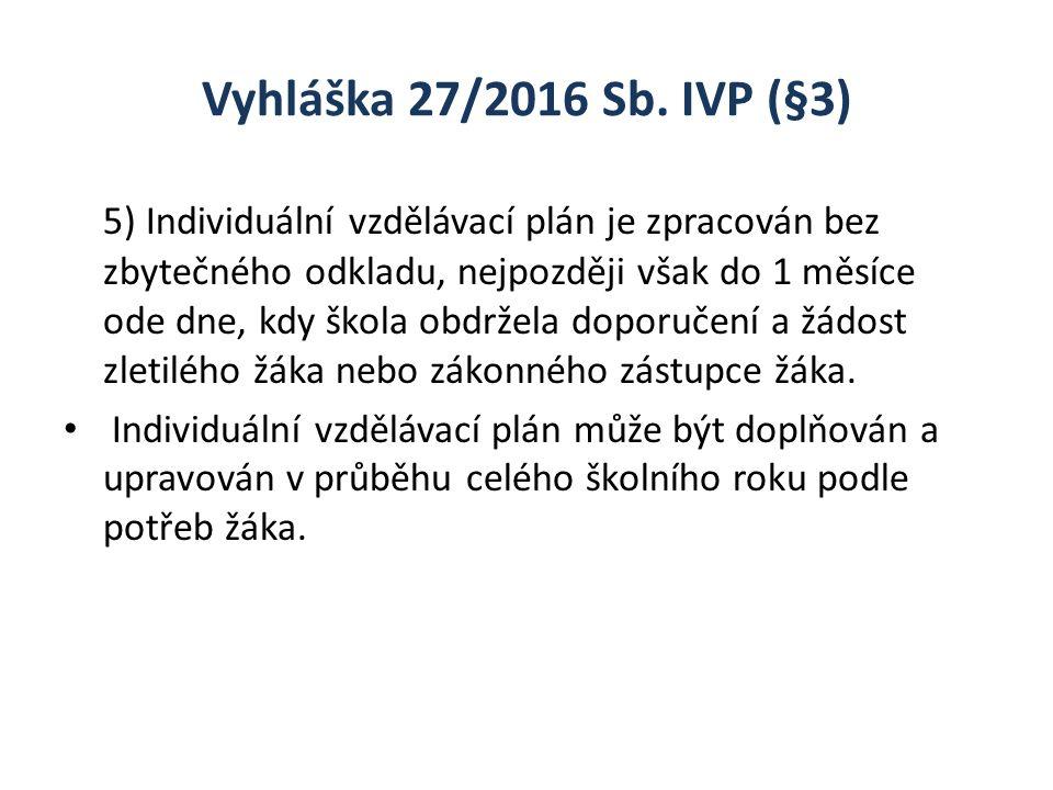 Vyhláška 27/2016 Sb. IVP (§3) 5) Individuální vzdělávací plán je zpracován bez zbytečného odkladu, nejpozději však do 1 měsíce ode dne, kdy škola obdr
