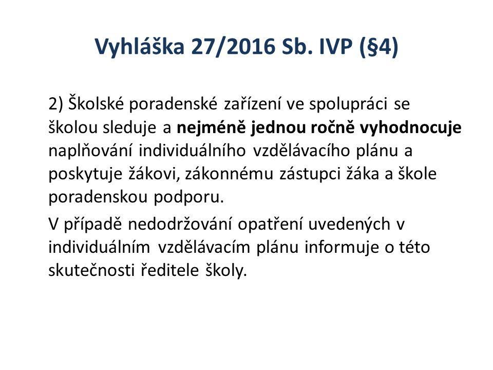 Vyhláška 27/2016 Sb. IVP (§4) 2) Školské poradenské zařízení ve spolupráci se školou sleduje a nejméně jednou ročně vyhodnocuje naplňování individuáln