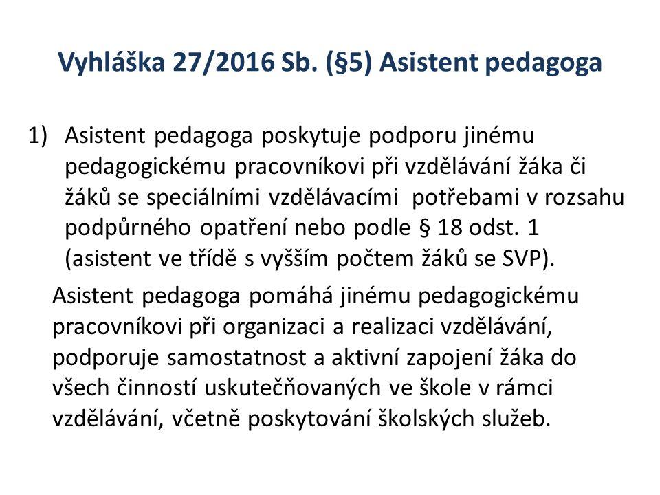 Vyhláška 27/2016 Sb. (§5) Asistent pedagoga 1)Asistent pedagoga poskytuje podporu jinému pedagogickému pracovníkovi při vzdělávání žáka či žáků se spe
