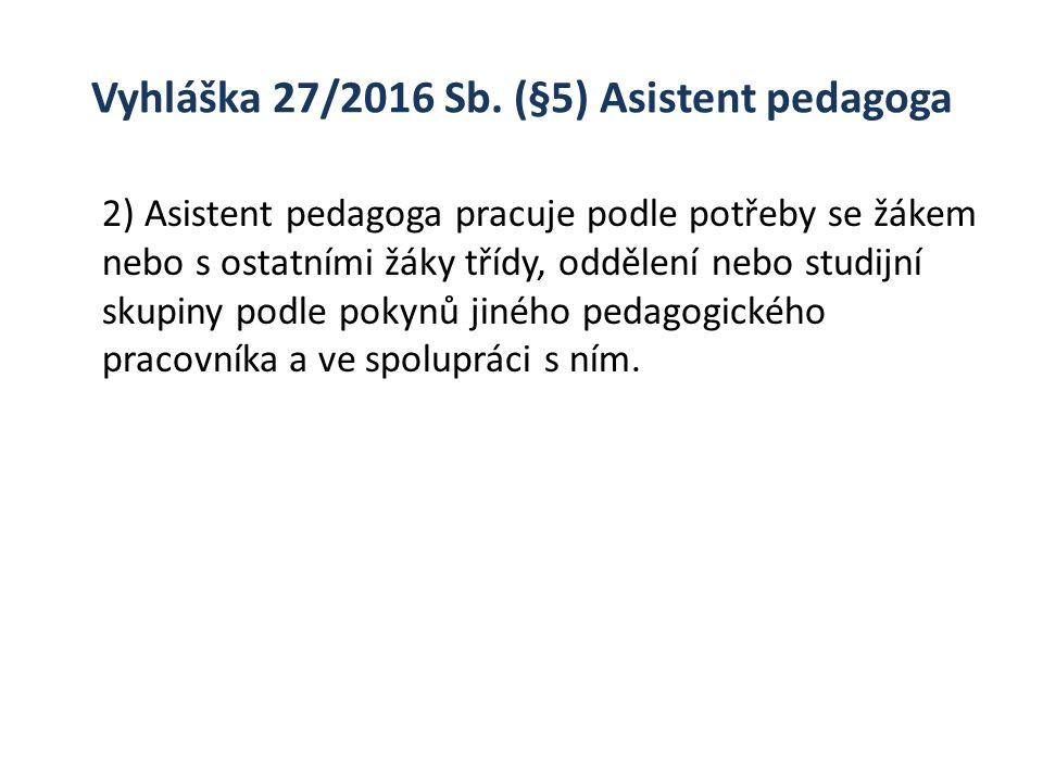 Vyhláška 27/2016 Sb. (§5) Asistent pedagoga 2) Asistent pedagoga pracuje podle potřeby se žákem nebo s ostatními žáky třídy, oddělení nebo studijní sk